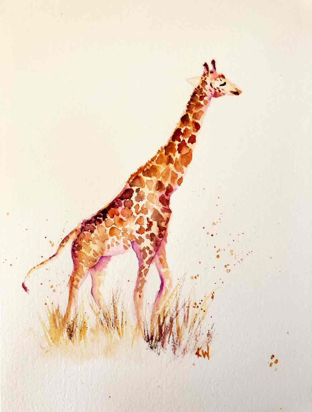 "Giraffes no 1 - Solo (Watercolour on paper, 8""x11"")"