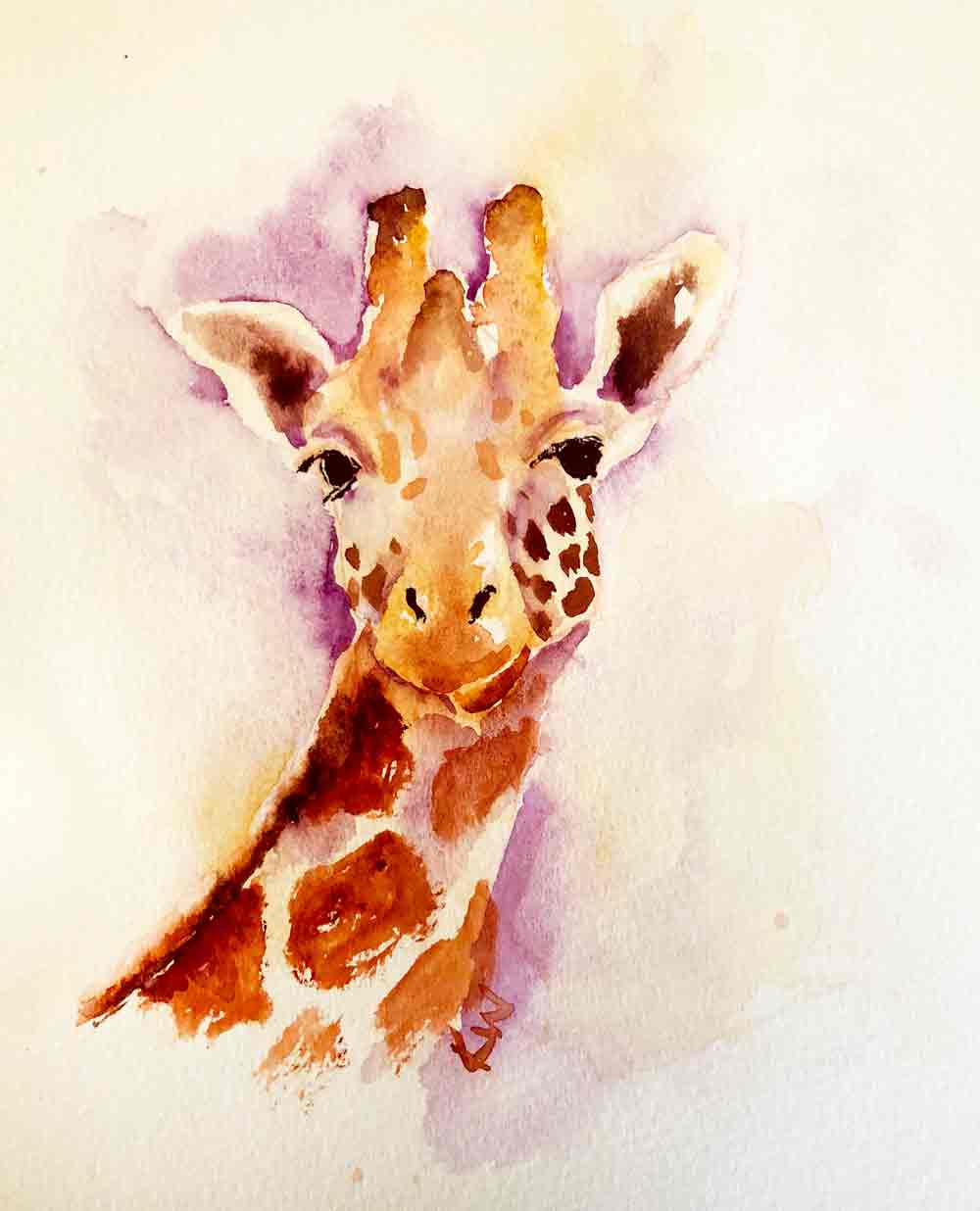 Giraffes no 7 - Come here often? (Watercolour on paper 6 x 8 inches)