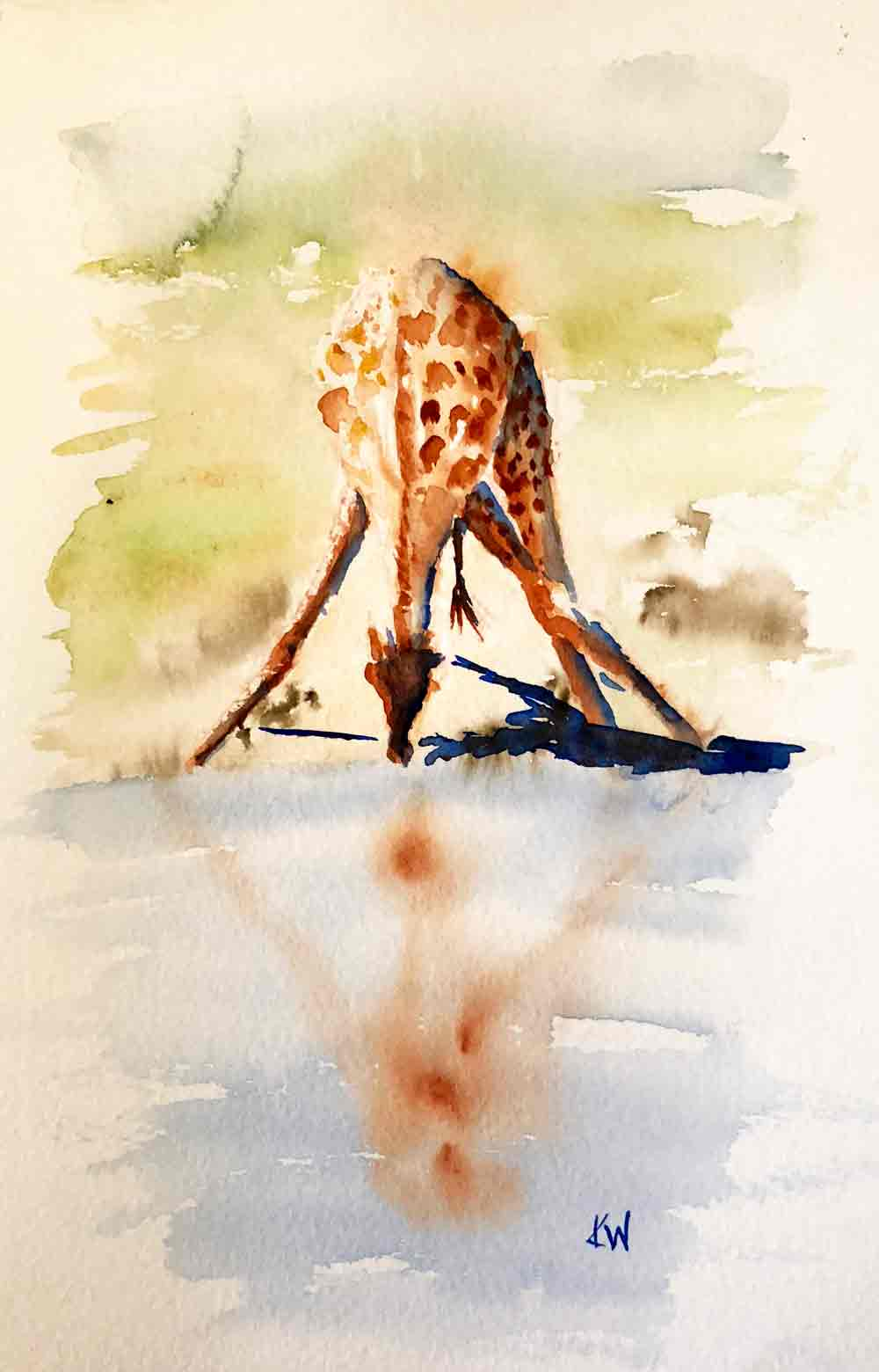"Giraffe 6  I Do It My Way (Watercolour on paper, 6.5""x11"")"