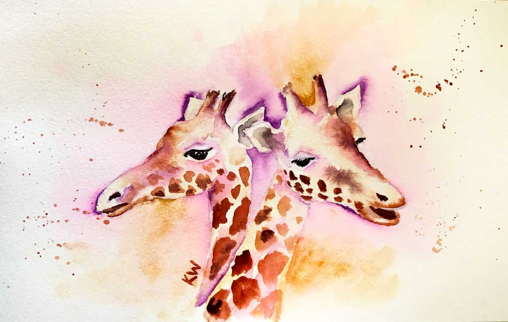 "Giraffes no 8 What a Pair (Watercolour on Paper, 6.5""x 11"")"