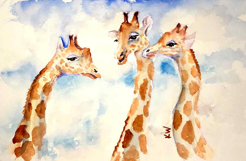 Giraffes no 9 - Heads in the Clouds (Watercolour on paper 6.5 x 10 inches)