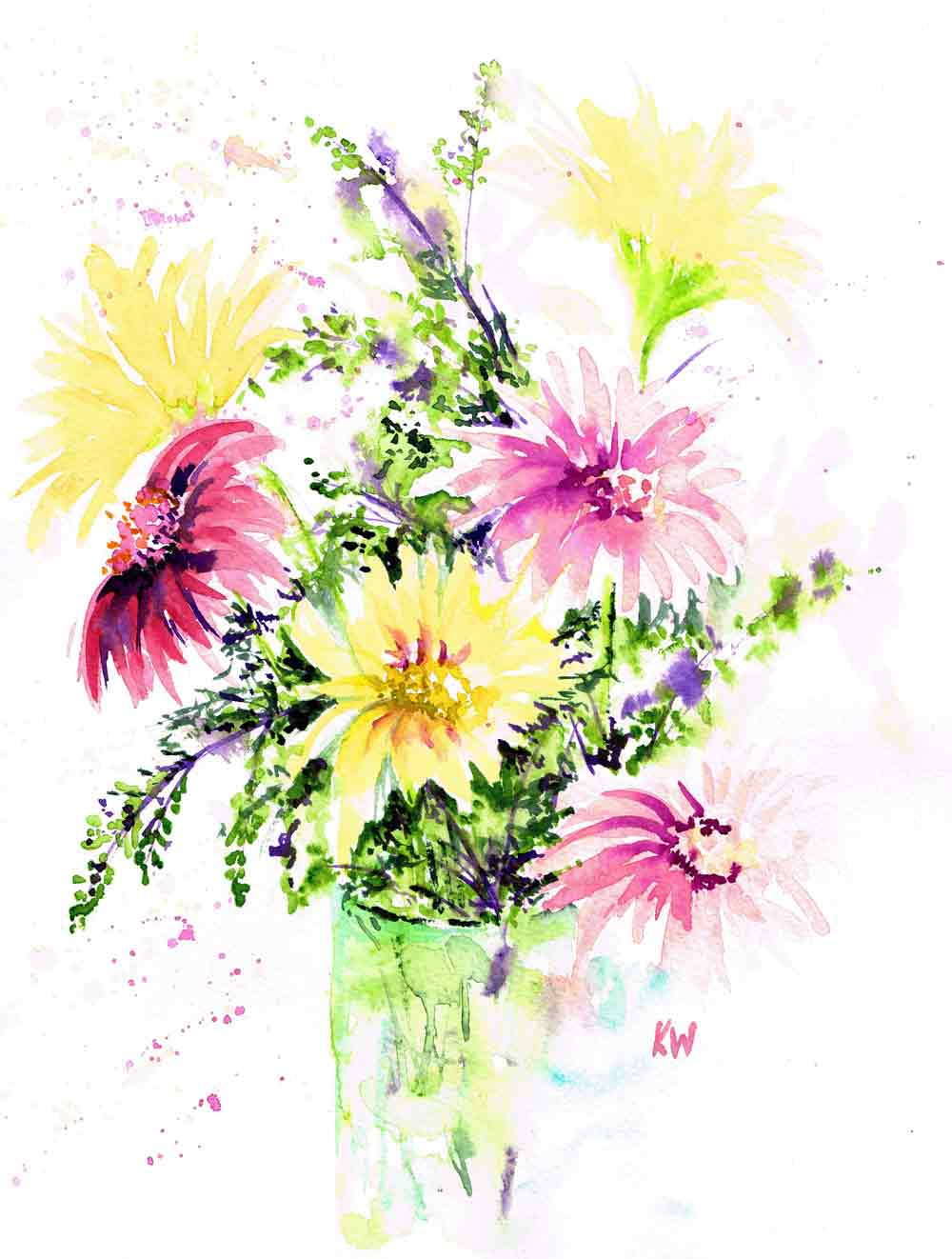 "Fresh Flowers no 1 Spring is Here - (Watercolour on paper, 9""x 12"")"