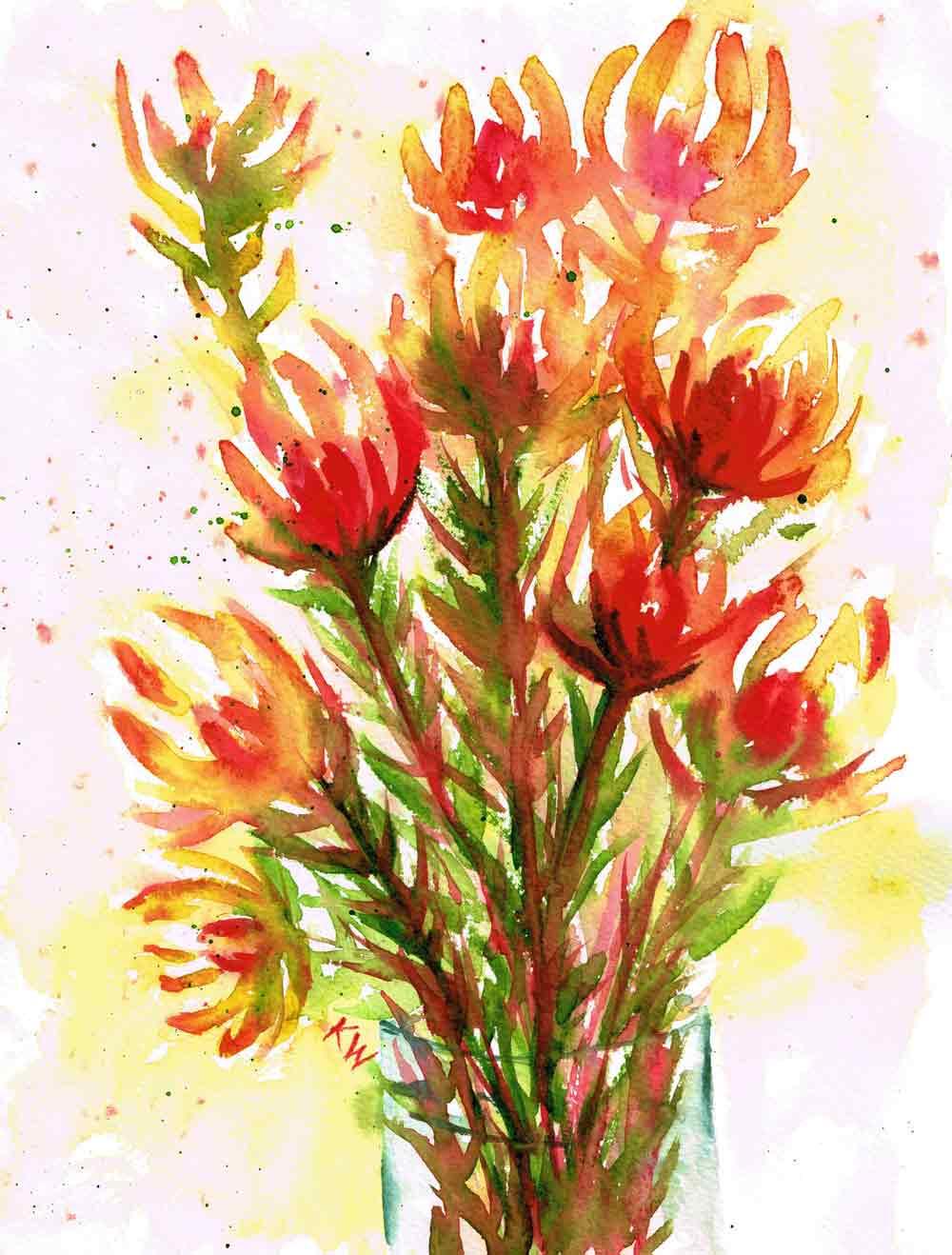 "Fresh Flowers no 4 Leucadendron - (Watercolour on paper, 9""x 12"")"