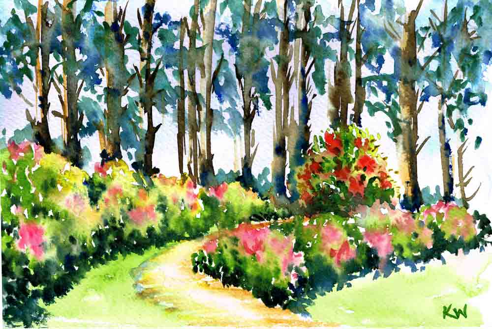 "Rhododendron Gardens no 10- (Watercolour on paper, 4.5""x 6"")"