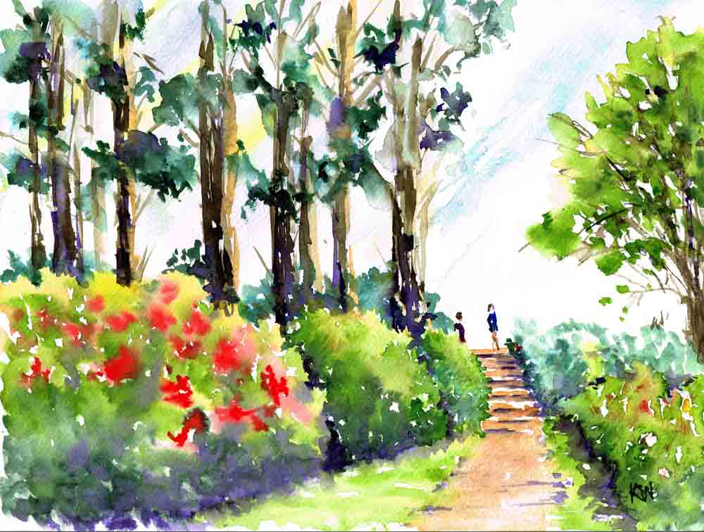 "Rhododendron Gardens no 7 (Watercolour on paper, 9""x 12"")"