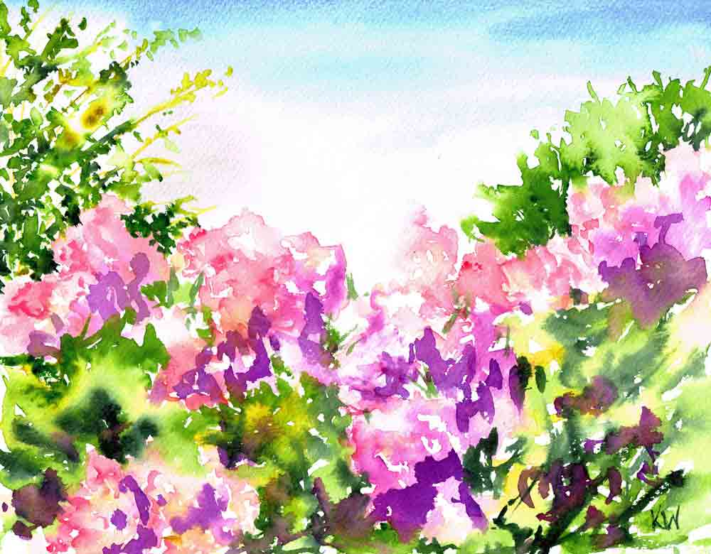 "Rhododendron Gardens no 3 (Watercolour on paper, 9""x 12"")"