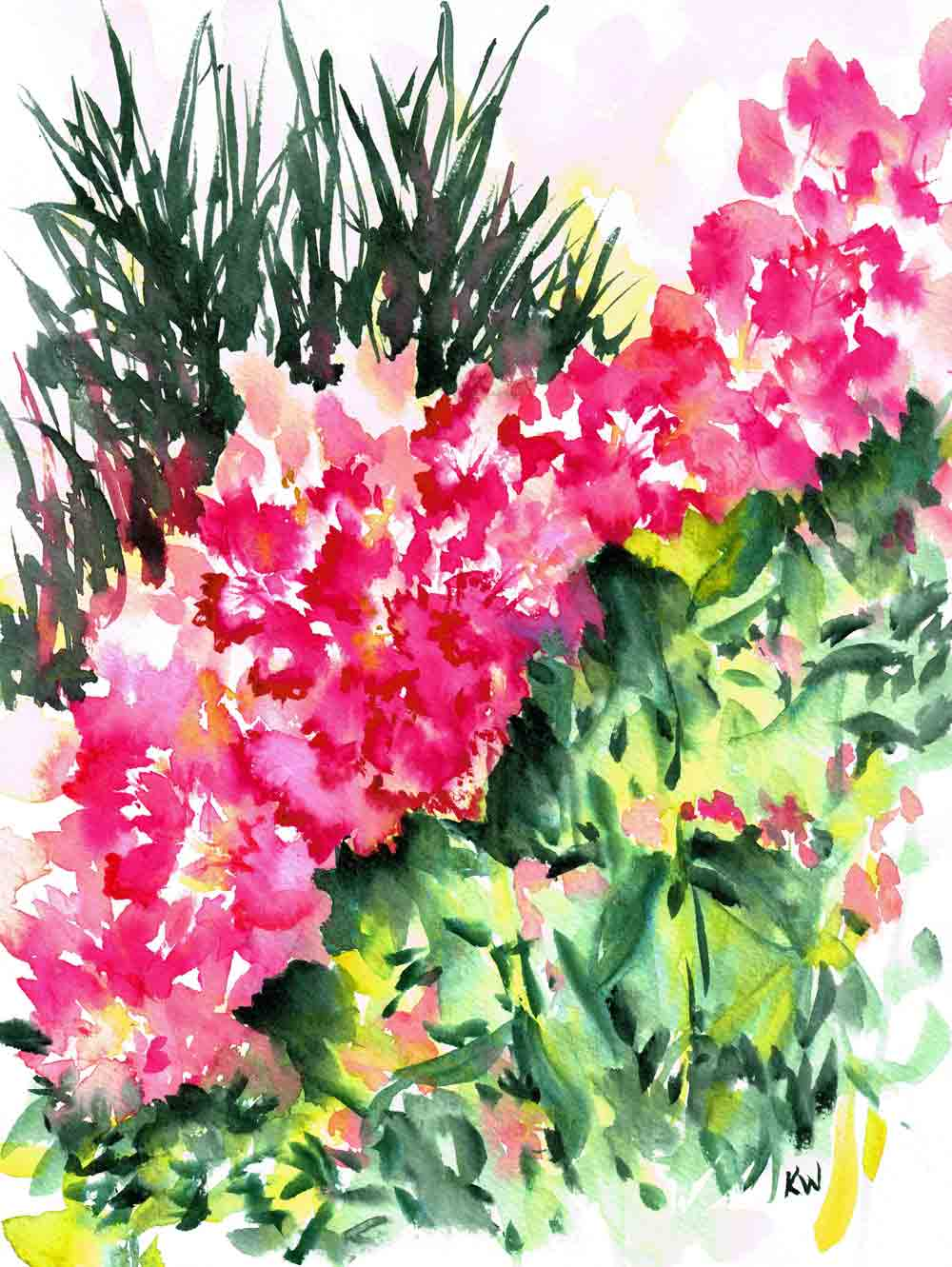 "Rhododendron Gardens no 6 (Watercolour on paper, 9""x 12"")"