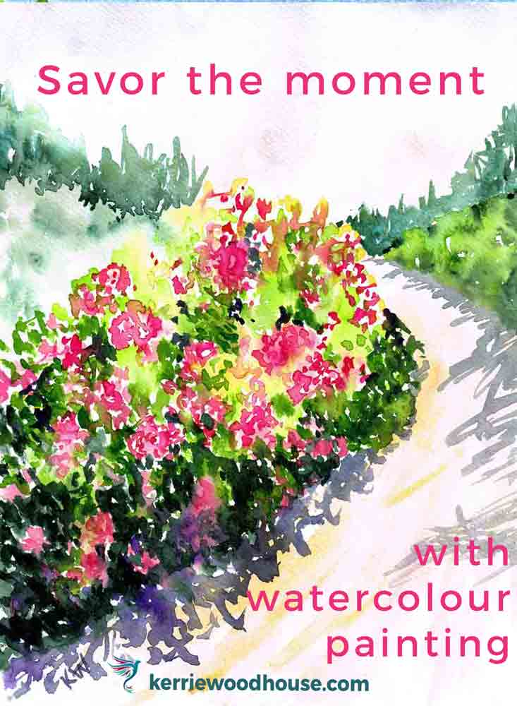 "Rhododendron Gardens no 5 (Watercolour on paper, 9""x 12"""