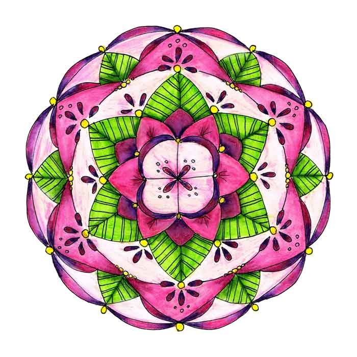 "Mandalas 2018 no 3- (Mixed media sketchbook, 10""x 10"")"