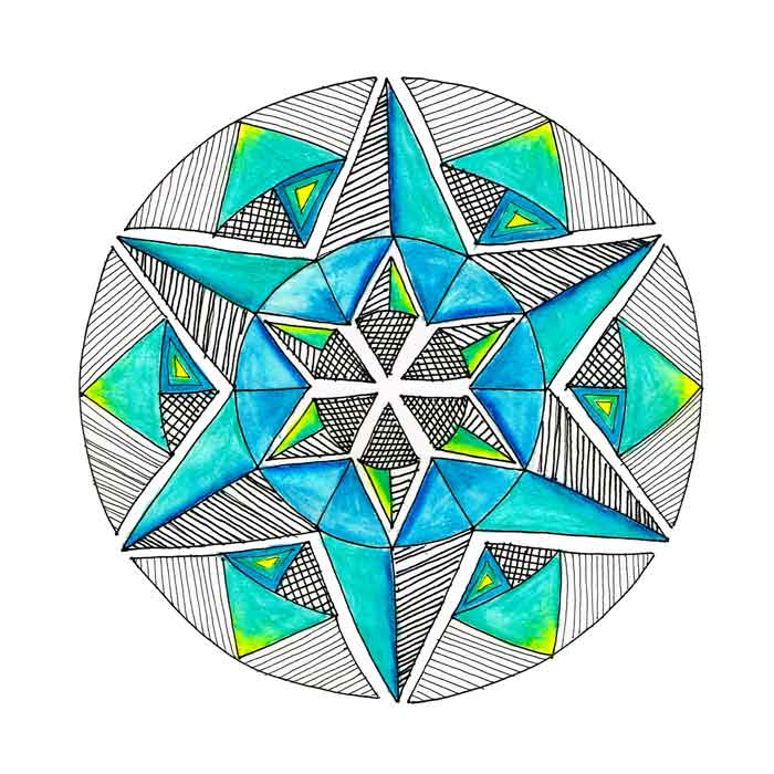 "Mandalas 2018 no 4- (Mixed media sketchbook, 10""x 10"")"
