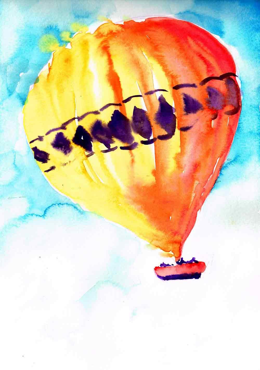 "Hot Air Balloon II no 10- (Watercolour sketchbook 9""x 12"")"