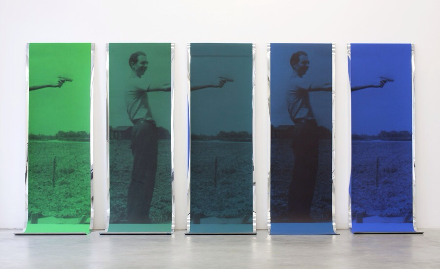 Sreshta Rit Premnath Toners, Dyes, 2011 acrylic paint and inkjet print on mirrored mylar, 5 parts, each 213 x 61 cm