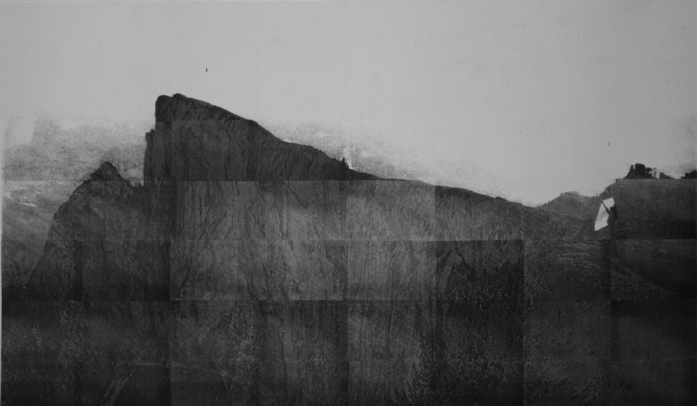 Amalia Pica Dialogue(paper and mountain). Image composed by A3 photocopies.Dimensions variable