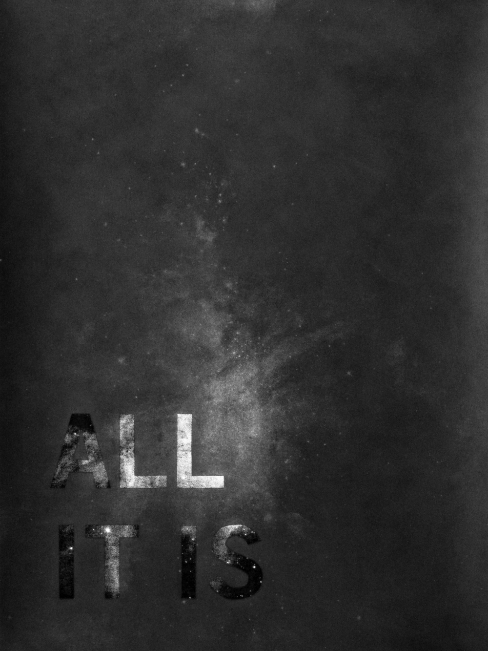 All It Is, And Ever Was, And Ever Will Be , 2010 Graphite over silkscreen on paper 18 x 24 inches
