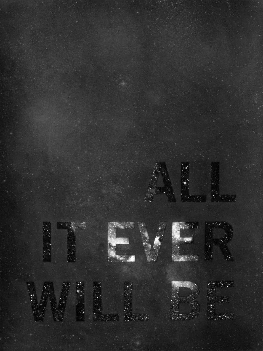 All It Is, And Ever Was, And Ever Will Be , 2010 Graphite and diamond powder over silkscreen on paper 18 x 24 inches