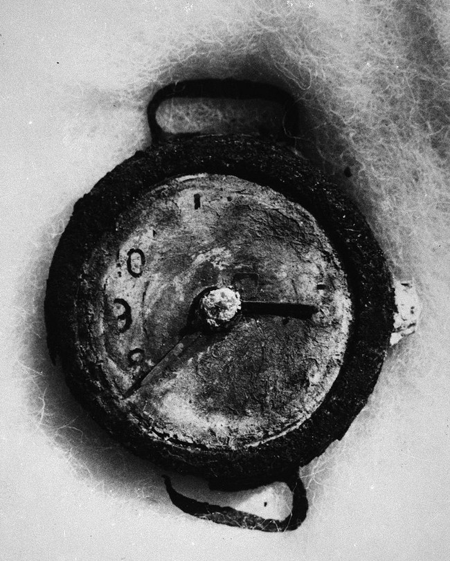 A clock recovered from Hiroshima that was destroyed during the atomic bombing frozen at the exact moment when the bomb exploded.