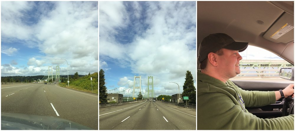 John driving over the Tacoma Narrows