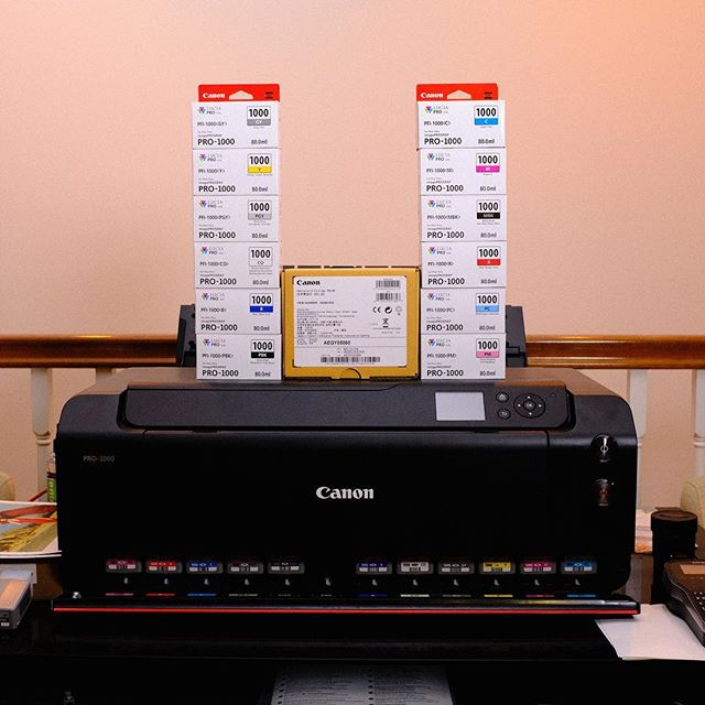 Time to replace the ink set in the printer... 💸💸💸 _ Anyone else print at home? How cost-effective has it been for you? I normally send off work to get printed, but for quick prints this thing has generated amazing quality prints on all types of substrate. _ . . . . . #thebroketographers #printing #photoprint #photography #canonusa #teamcanon #Pro1000 #imageprograf #potd #strobist #broncolor #profoto