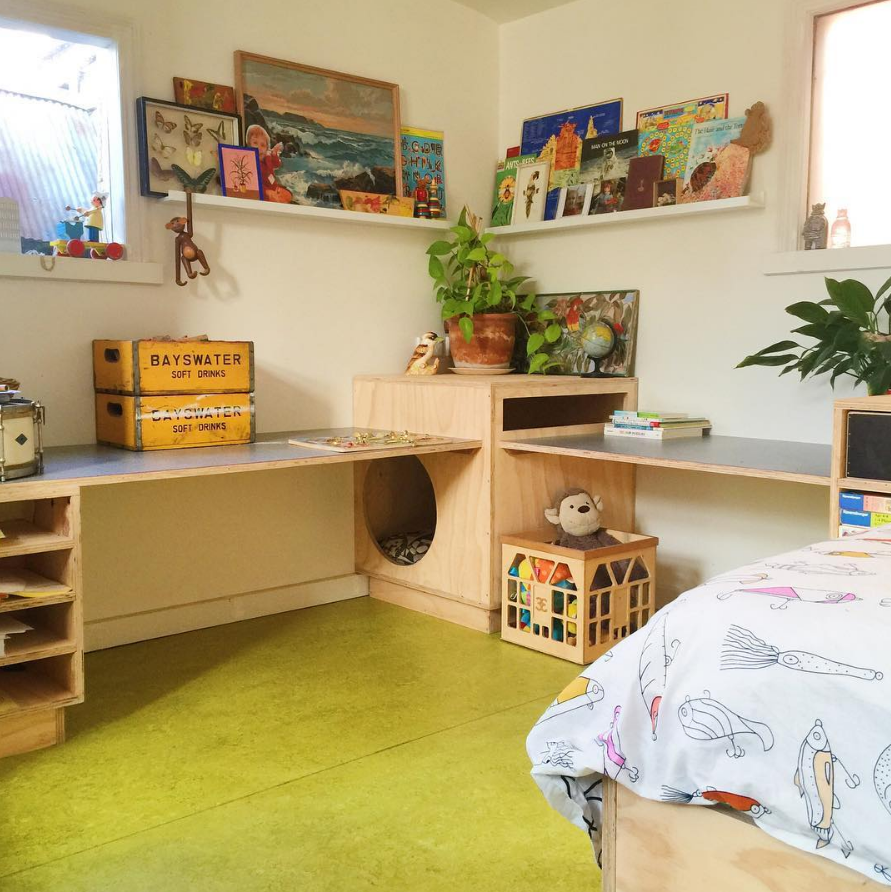 Children's playroom with integrated cubby house