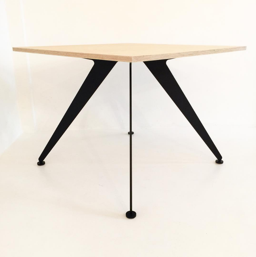 Stealth side table with plywood top and powder-coat 'flat black' legs.