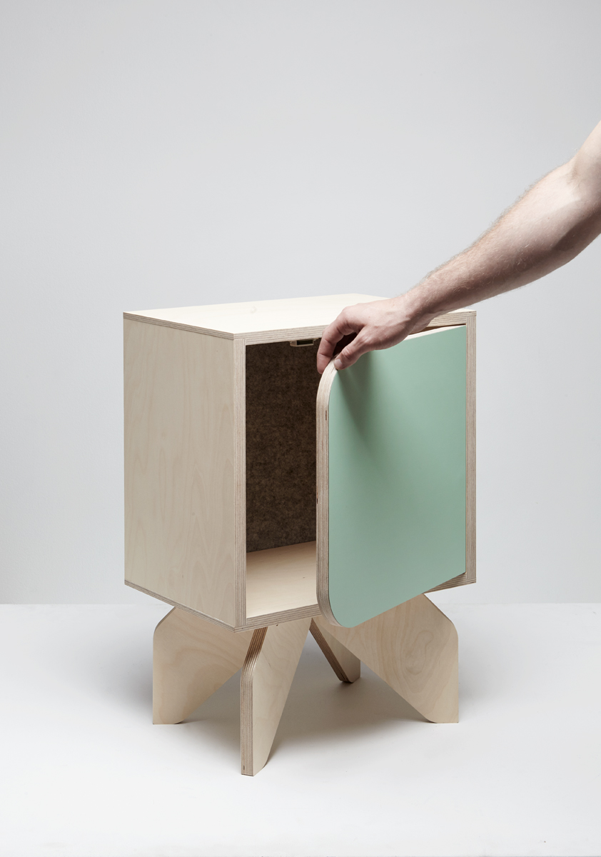 Rocket Bedside -   Natural birch plywood with laminate mint door.   Photo by Thom Brookes photography