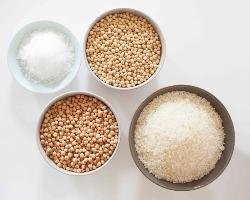 Miso raw ingredients. L-R: Salt, Chickpeas, Soybeans & Rice