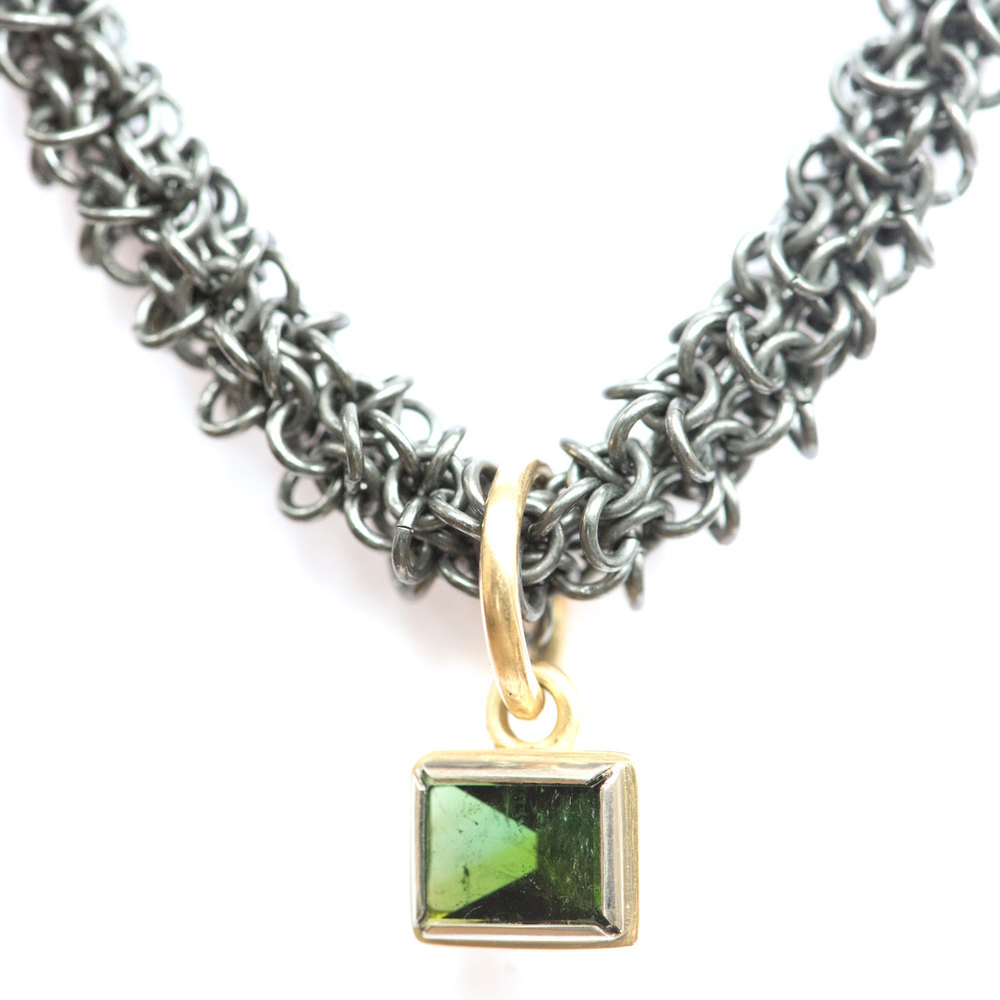 Green Tourmaline and 18ct Gold Pendant on Oxidised Silver Chain