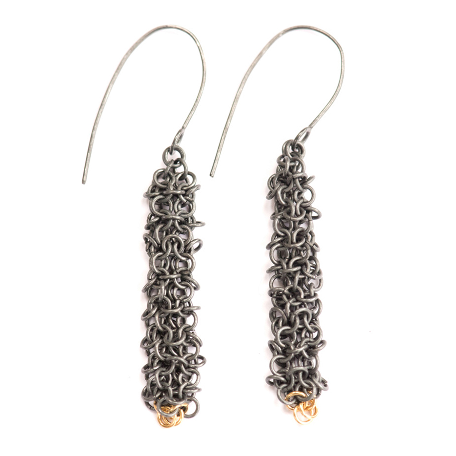 Oxidised Silver and 18ct Gold Drop Earrings