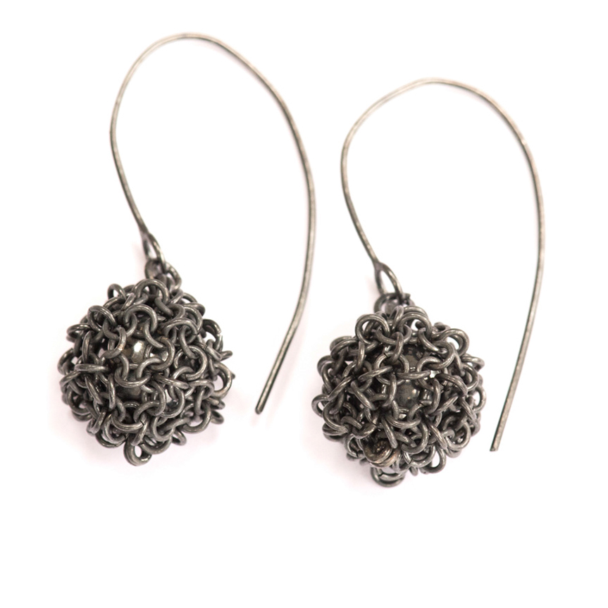 Oxidised Silver Bobble Earrings