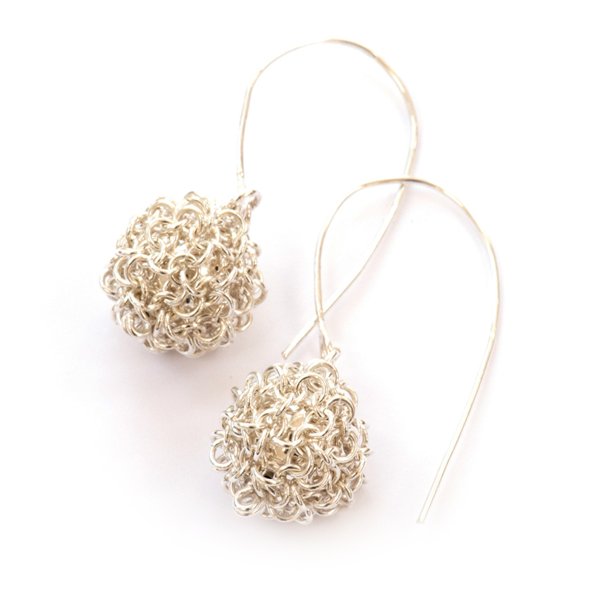 Silver Bobble  Earrings