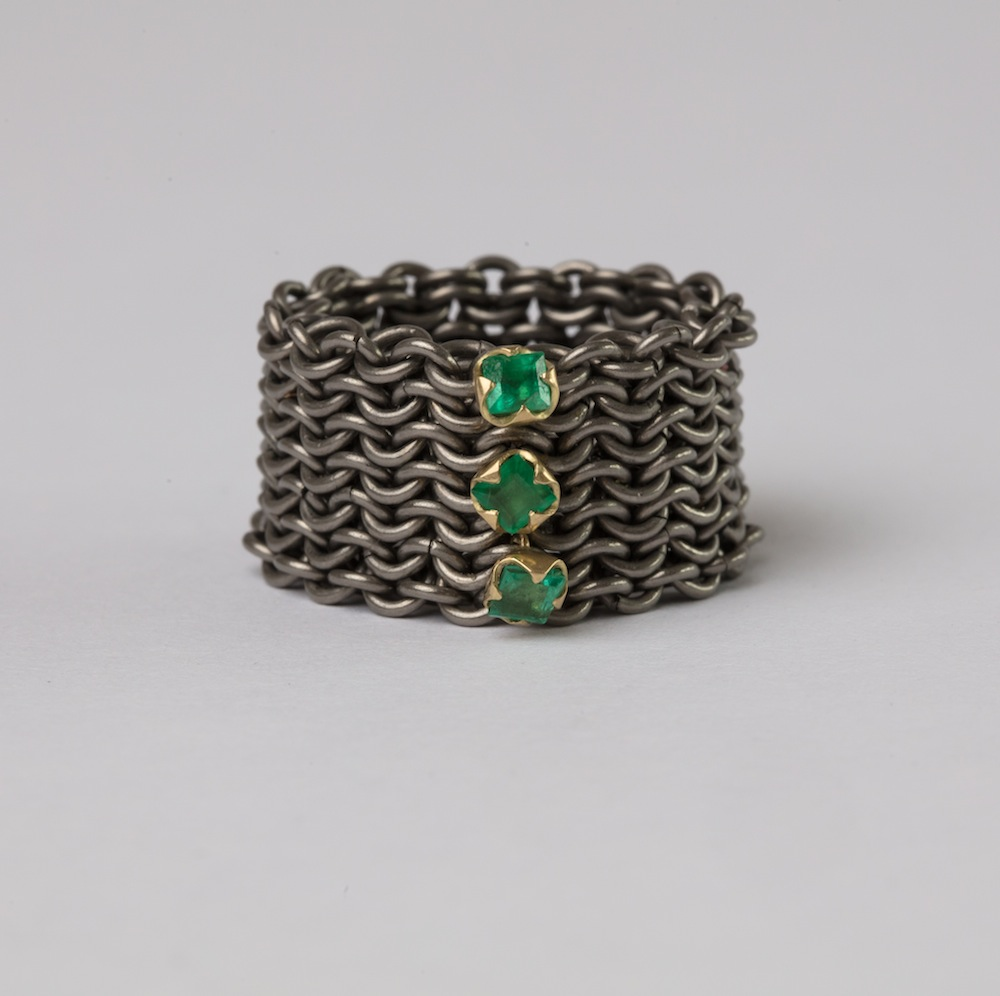 Oxidised Titanium with 18ct Gold set Emeralds Basket Ring