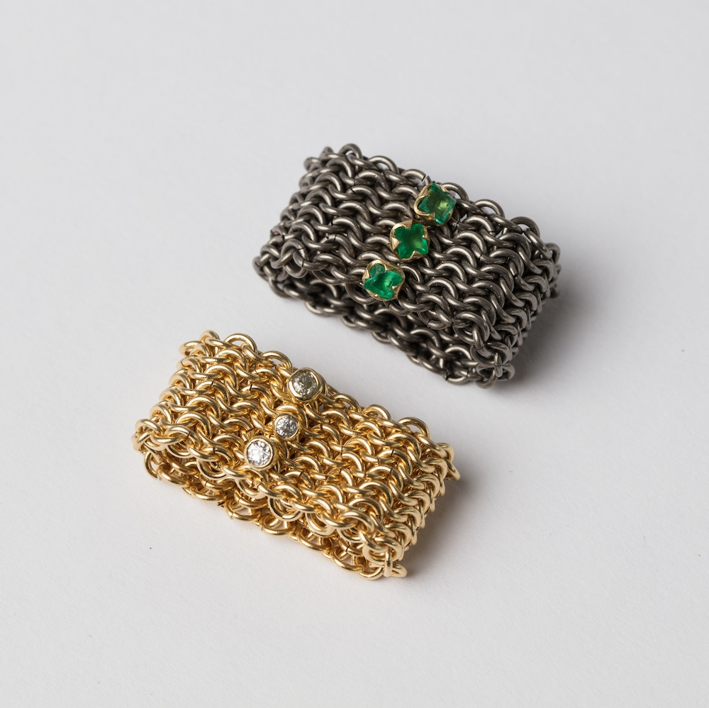 Basket Rings with diamonds and Emeralds