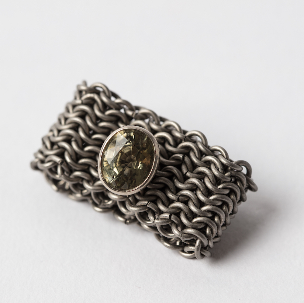 Titanium Basket Ring with Tourmaline set in 18ct White Gold
