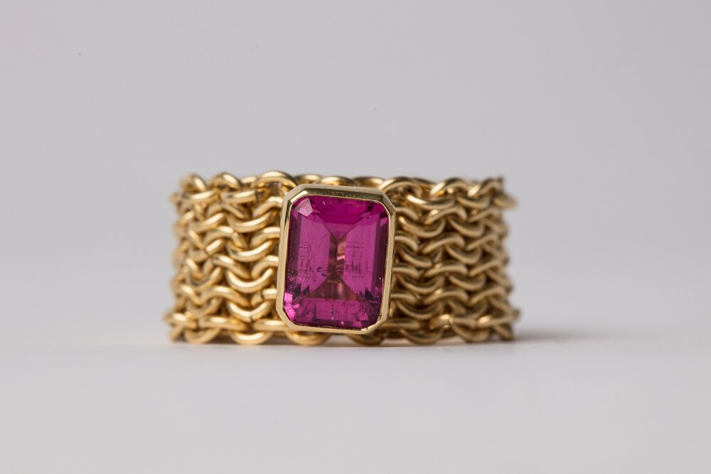 18ct Gold Basket Ring with Pink Tourmaline