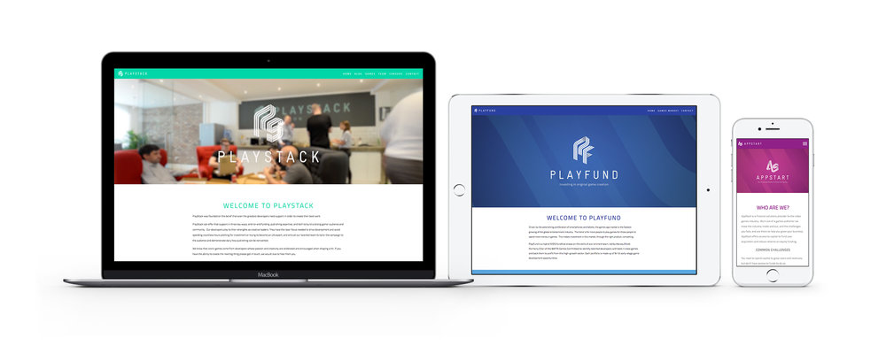 The PlayStack, PlayFund and AppStart websites, all redesigned by Jordan through 2017