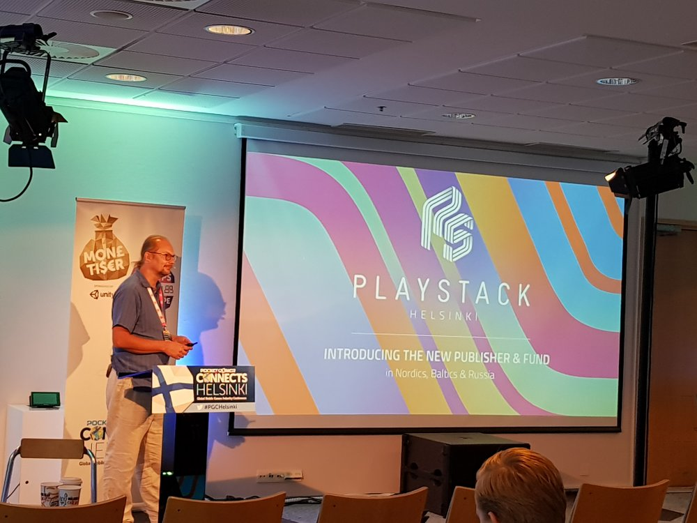 Juha Huhtakallio presents at  Pocket Gamer Connects  Helsinki 2018