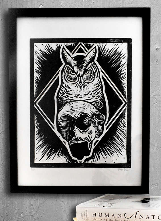 owl print, handamde, tattoo, Berlin, skull, black, black tattoo, black art, Ivan Duso, Antikapratika