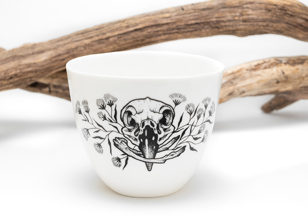 White porcelain, Mug, Maxi Mug, skull tattoo, bird tattoo, handcrafted, made in Berlin, Antikapratika.jpg