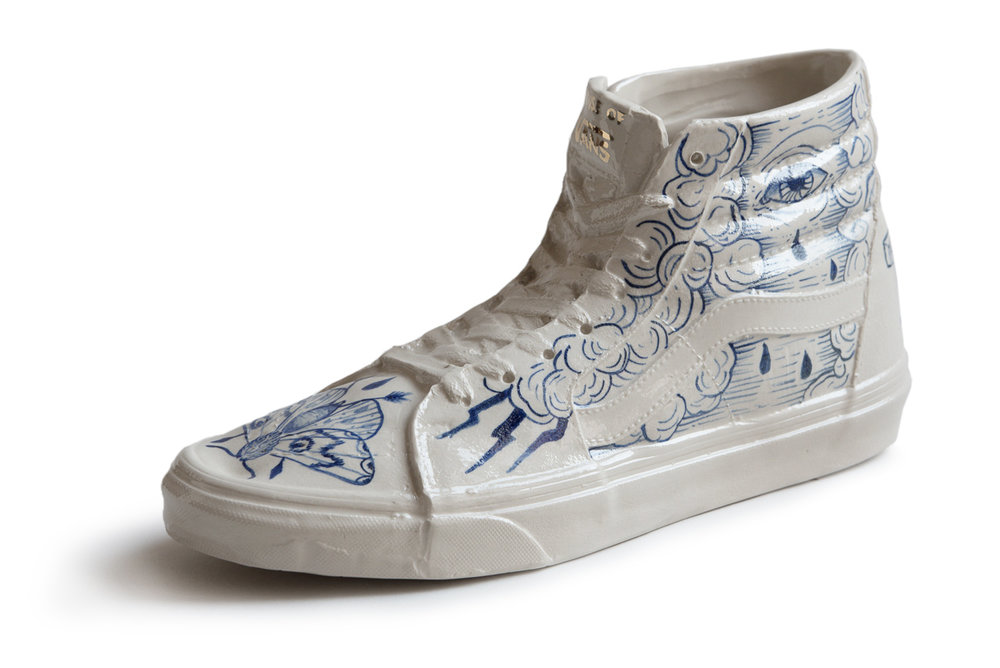 One of the four tattooed porcelain limted edition models, presented at House of Vans Berlin.