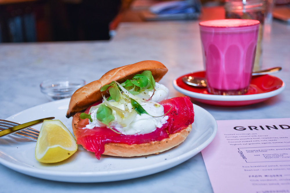 Beetroot Infused Salmon Bagel