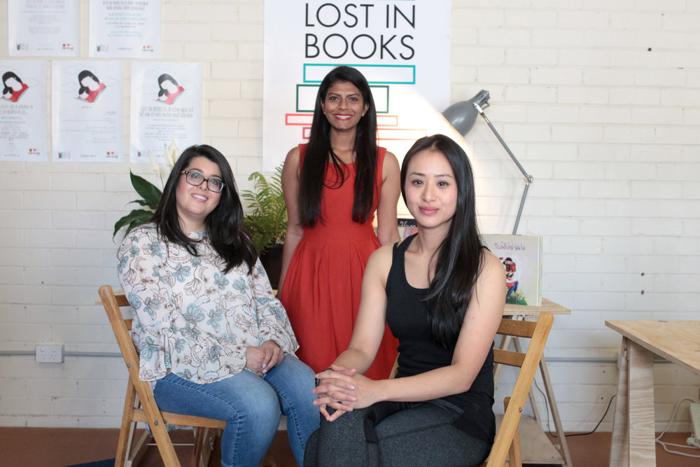 Inaugural IN OTHER WORDS residents (left to right), Zarlasht Sarwari, Uma Jeyaseelan ( Dost's Journey , Dari) and Maria Tran ( The Drums of Me Linh , Viet)