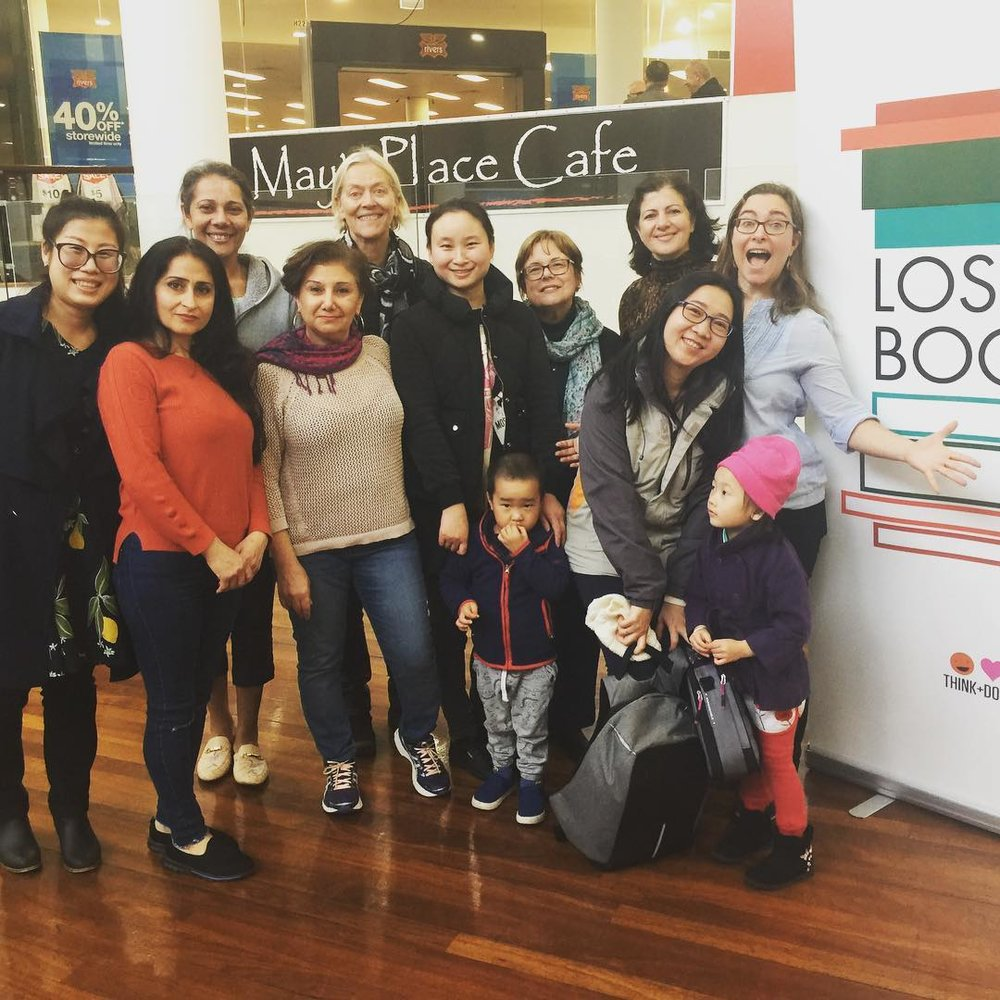 The first FORKED TONGUES Storytelling trainees just before reading at a children's festival at a local shopping centre during training