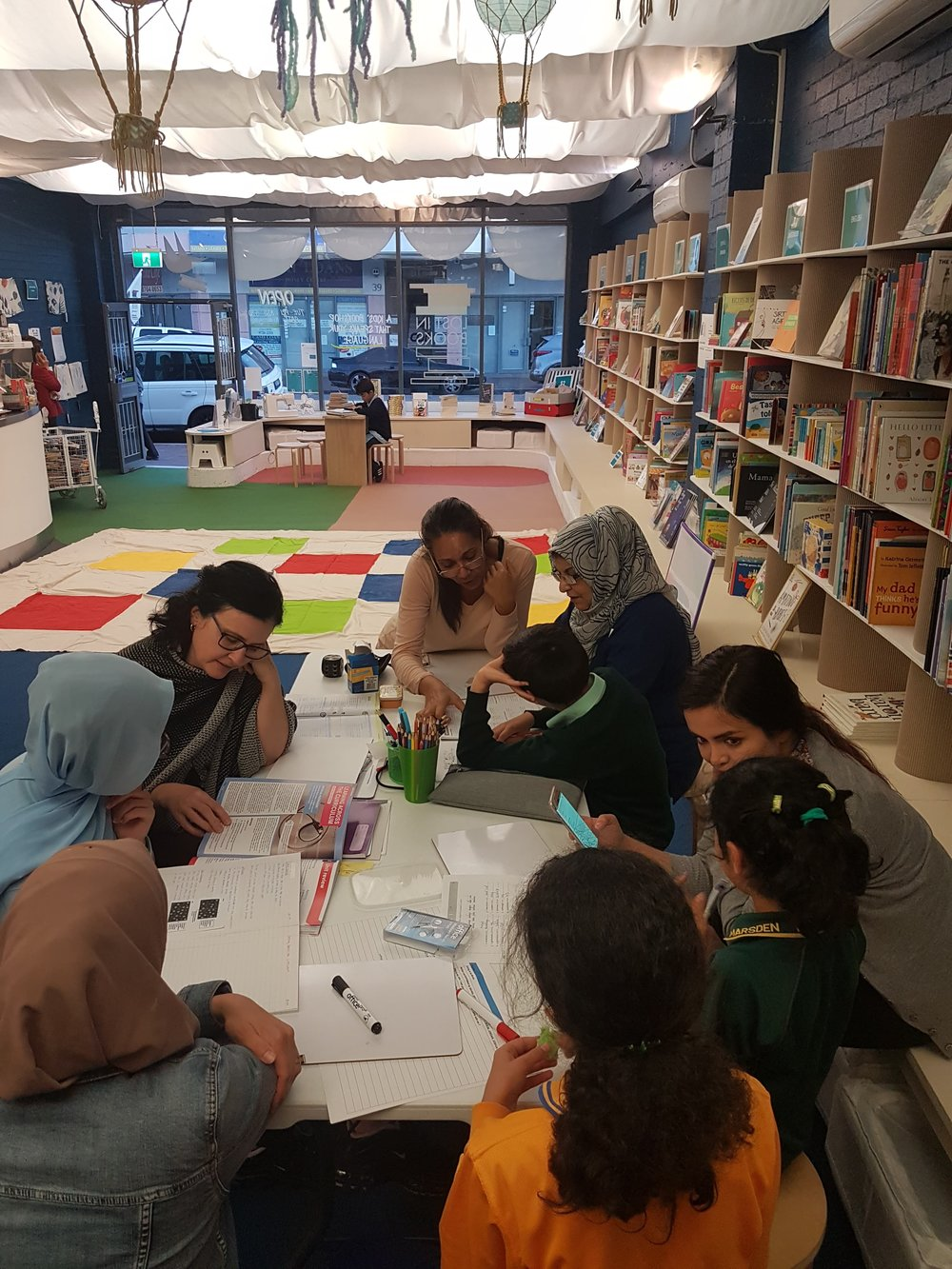 HOMEWORK CLUB - Are you a teacher, or training to become one? Are you a uni student? Or high school subject specialist? Do you have two hours a week to support newly arrived students so they can thrive in Australian schools? - Join us at LOST IN BOOKS for our Homework Club which is delivered with our community partners, the Iraqi Australian University Graduates Forum.Every Wednesday afternoon, we meet at 3:30pm for afternoon tea and relaxation. Then from 4pm - 6pm we help students (K-12) and their families to understand their homework and partner with them for success. Join us to be part of the warm welcome we extend to new Australians.
