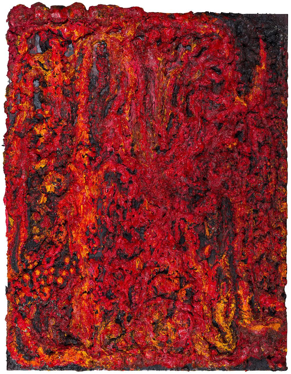 Magma Mutant, 2017 Oil, gesso, acrylic, polyurethane foam on canvas 270 x 210 cm