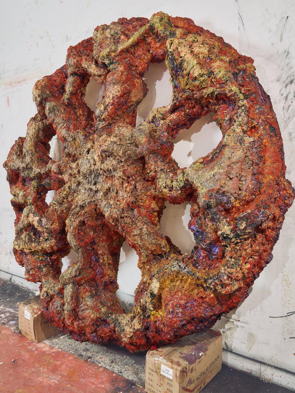 Earth wheel, 2018 Oil, gesso, acrylic, polyurethane foam on wood  220 x 220 x 40 cm