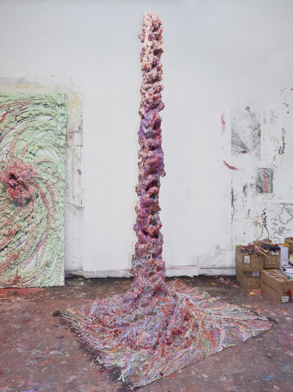 Genesis, 2019  Oil, gesso, acrylic, polyurethane foam, wooden structure on carpet  255x24x20 x 146x130 cm