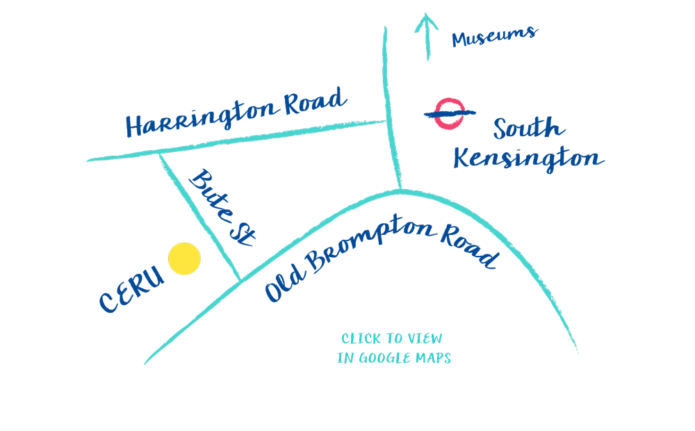 A map showing Ceru located at 7-9 Bute Street, South Kensington