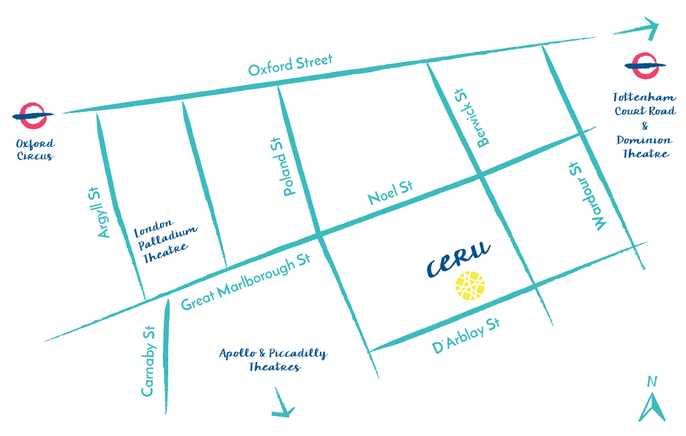 A map showing CERU located at 11 D'Arblay Street, Soho