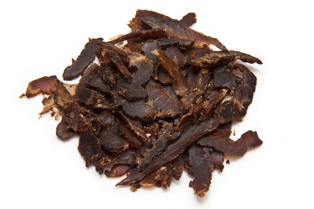 Biltong (pictured) is similar to beef jerky, also a great high protein snack. Biltong is spiced, cured then dried strips of beef whereas jerky is cooked then dried. Most supermarkets stock packets of these making them a great option on the go. However, these can be expensive.