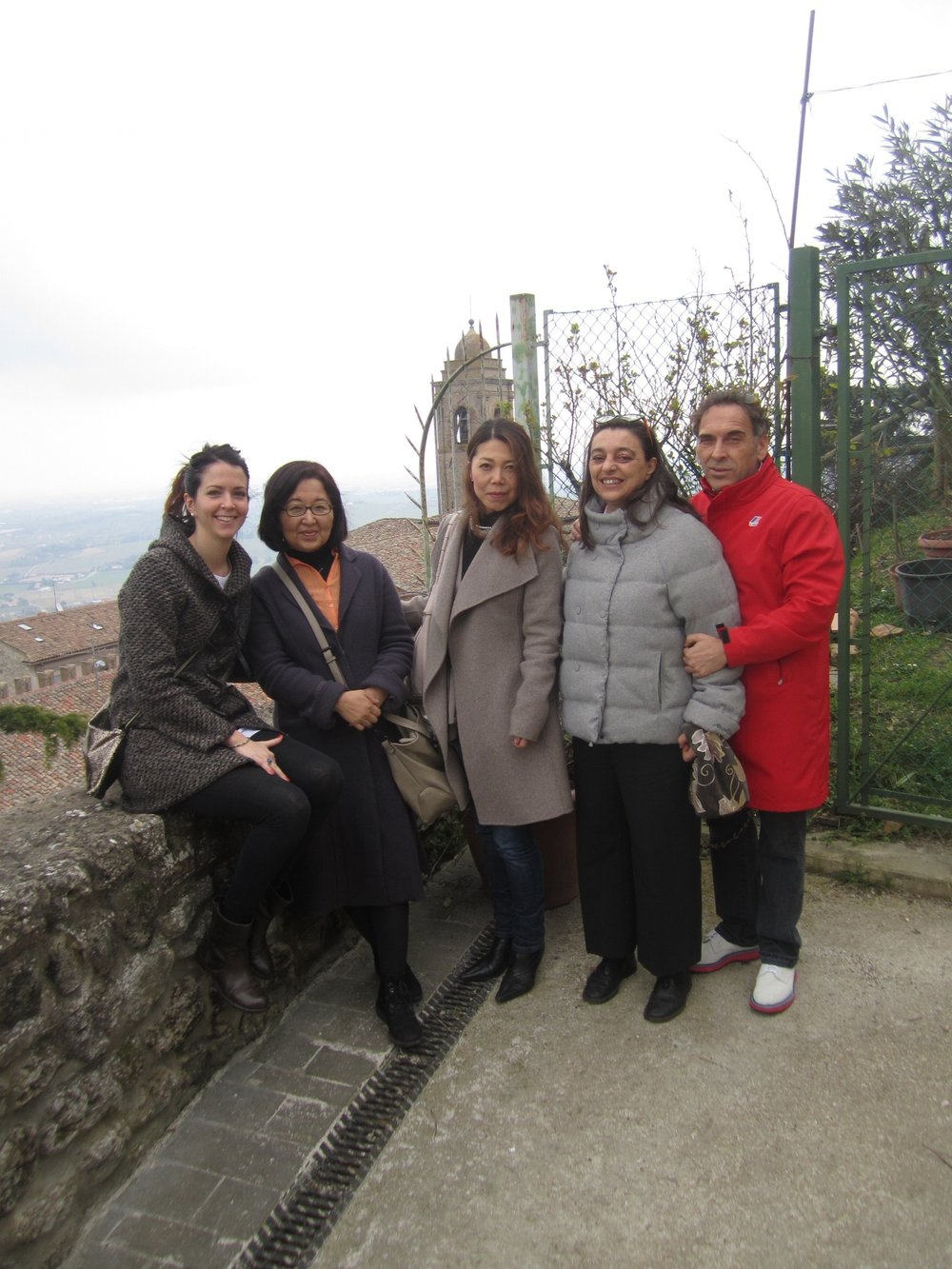 At the top of the hill in Cesena with architects of CSPE studio (from left: Francesca, Haruko, Tamae, Camilla and Marco) March 2015